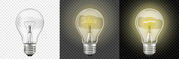Glowing and Turned Off light bulbs. Vector 3d Realistic . Set with incandescent lamps, glowing yellow light bulbs, isolated on transparent background. Symbol of creative ideas