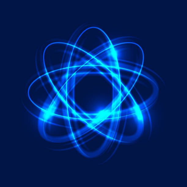 Glowing atom on blue background, abstract light background. Light motion circles, swirl trail effect. Vector Eps10 Glowing atom on blue background, abstract light background. Light motion circles. Swirl trail effect. Vector Illustration atom stock illustrations