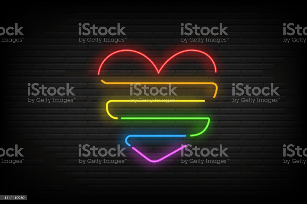 Glowing banner neon heart of lgbt flag color on old bricks wall. Night bright advertise. Minority rights protection concept. Vector illustration eps 10 vector art illustration