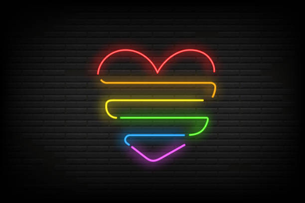 glowing banner neon heart of lgbt flag color on old bricks wall. night bright advertise. minority rights protection concept. vector illustration eps 10 - minority stock illustrations, clip art, cartoons, & icons