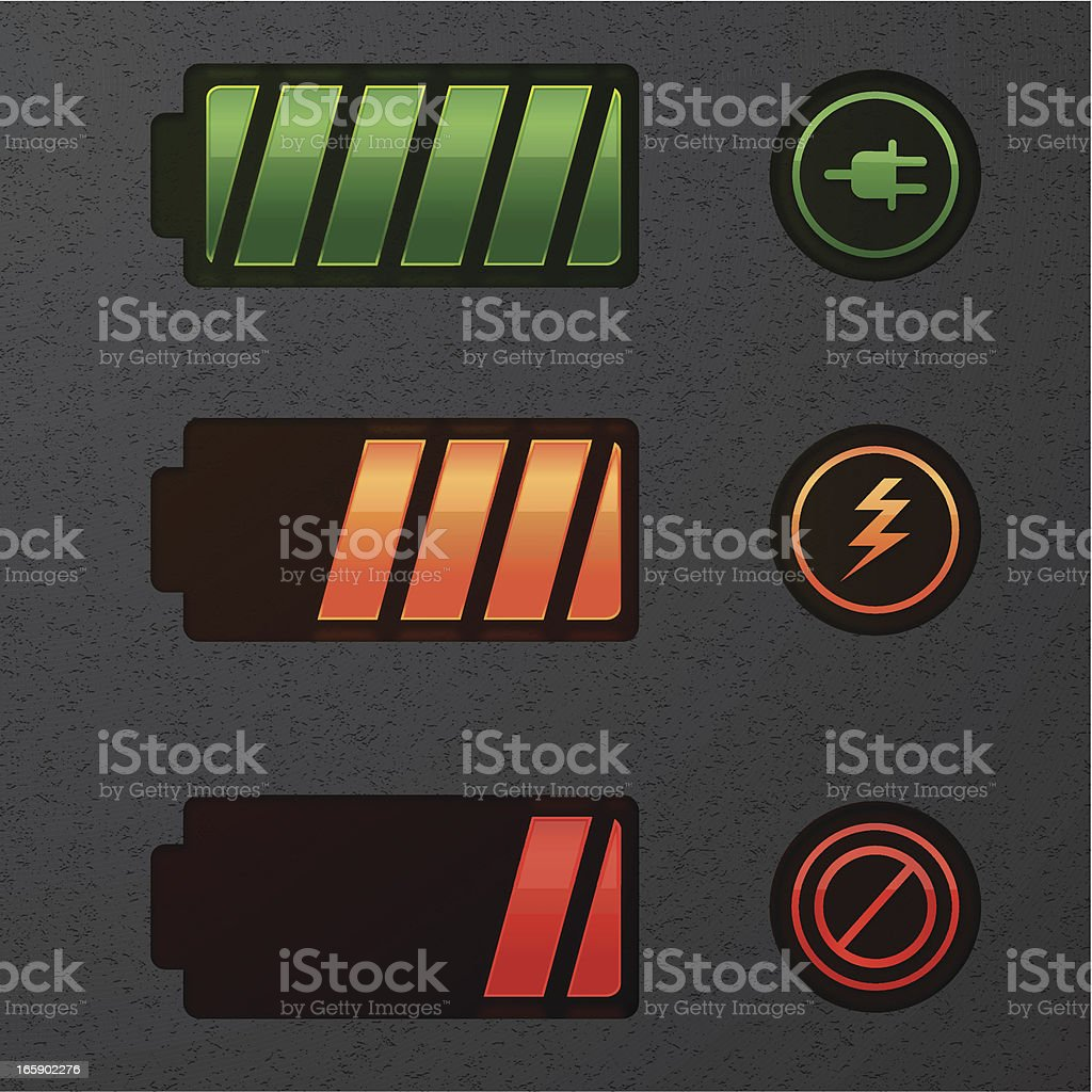 Glowing battery icons vector art illustration