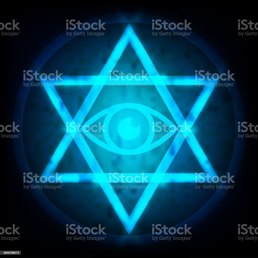 Glowing Blue Eye Of Providence In The Center Of The Hexagram Is A ...