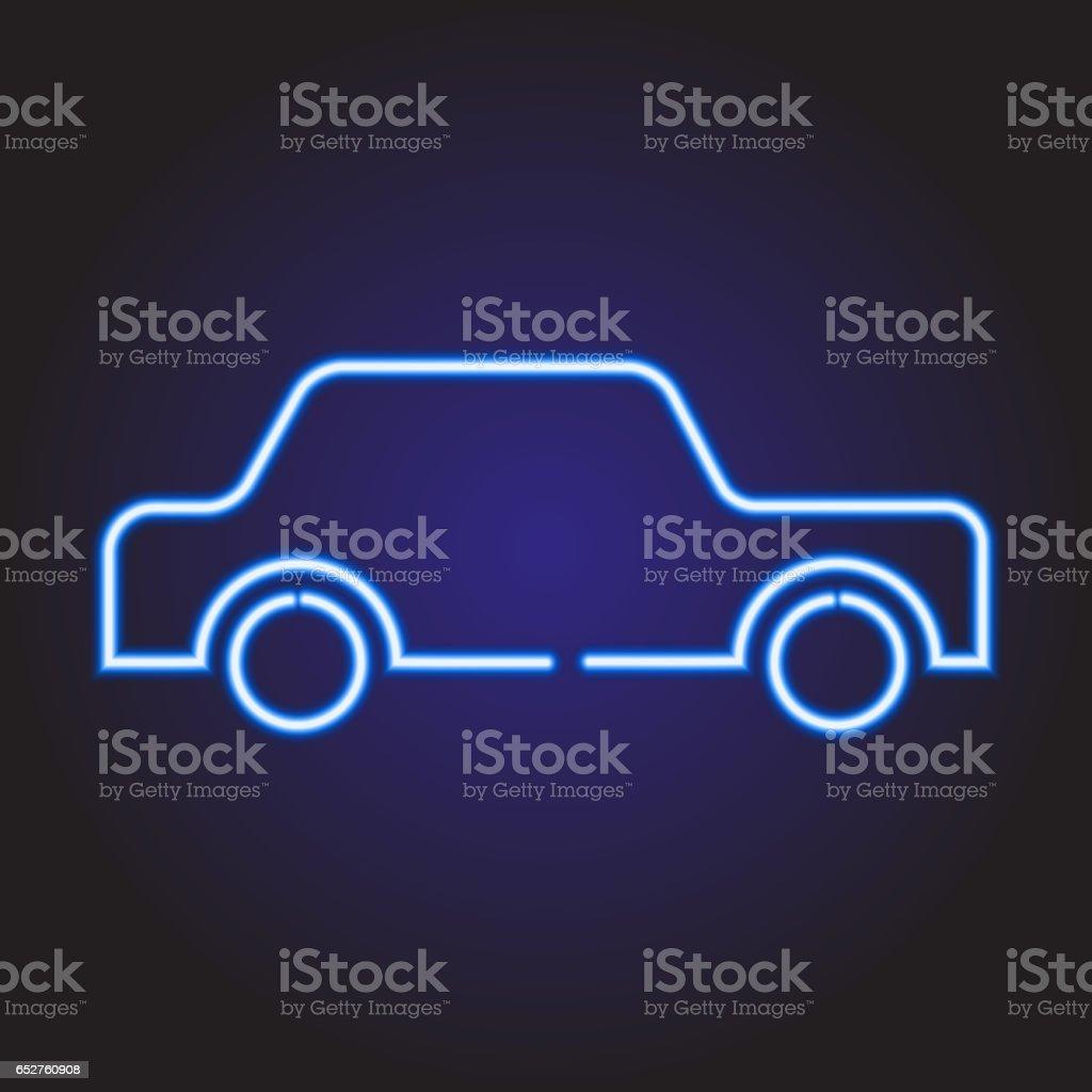 Leuchtenden Blauen Neonautosymbol Von Vektorillustration Stock