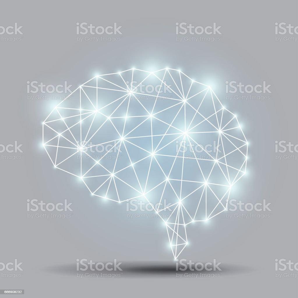 Parlak beyin çokgen vektör sanat illüstrasyonu