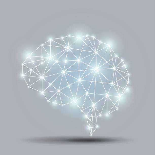 Glowing brain polygon vector art illustration