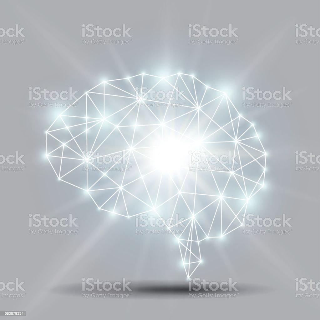 Glowing brain polygon with shiny light burst Vector vector art illustration