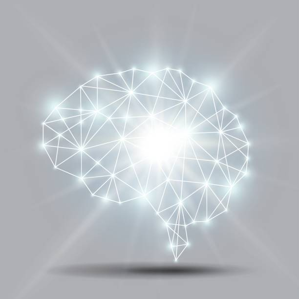 Glowing brain polygon with shiny light burst Vector vector art illustration