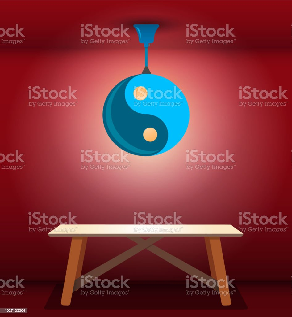 Glowing Ceiling Lamp In Shape Of Yinyang Symbol Above Wooden Table