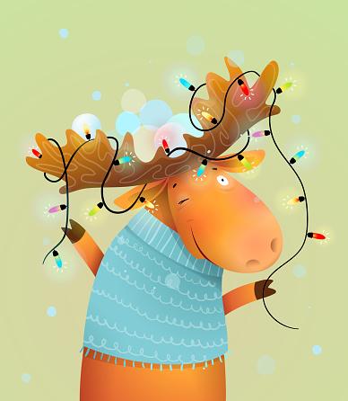 Glowing Christmas Lights on Reindeer Moose Antlers
