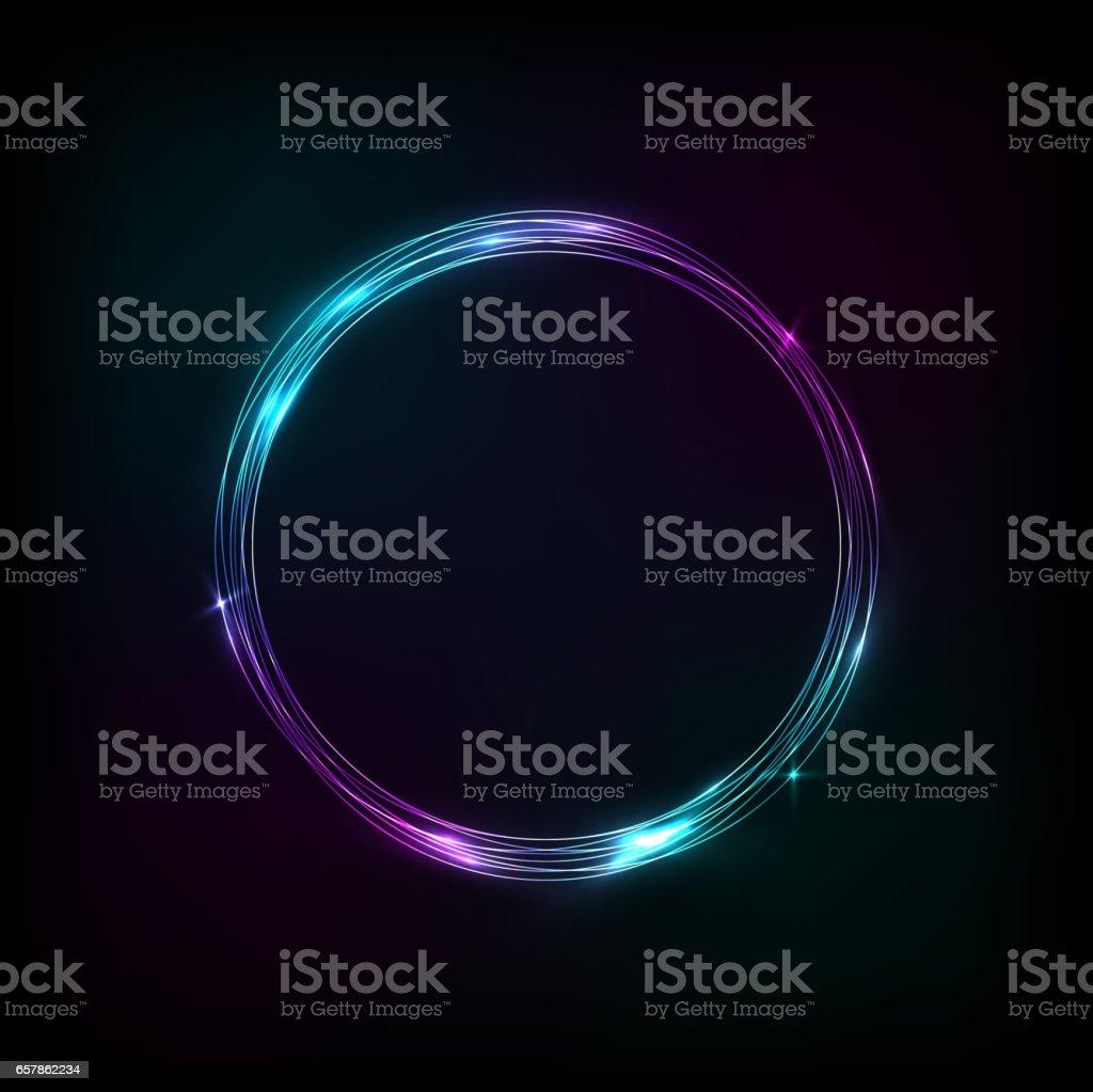 Bandeira de círculo brilhante roxo-azul - ilustração de arte em vetor