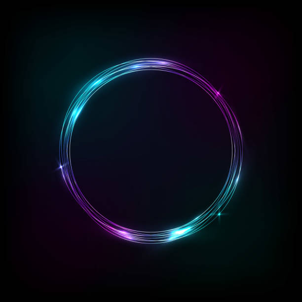 Glowing circle banner purple-blue vector art illustration