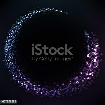 Banner.Circle of glare purple blue . Glare in motion