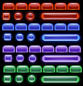 glowing computer icons: red, blue, green and purple on a black background.