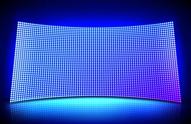 ilustrações de stock, clip art, desenhos animados e ícones de glowing concave led wall video screen - led painel
