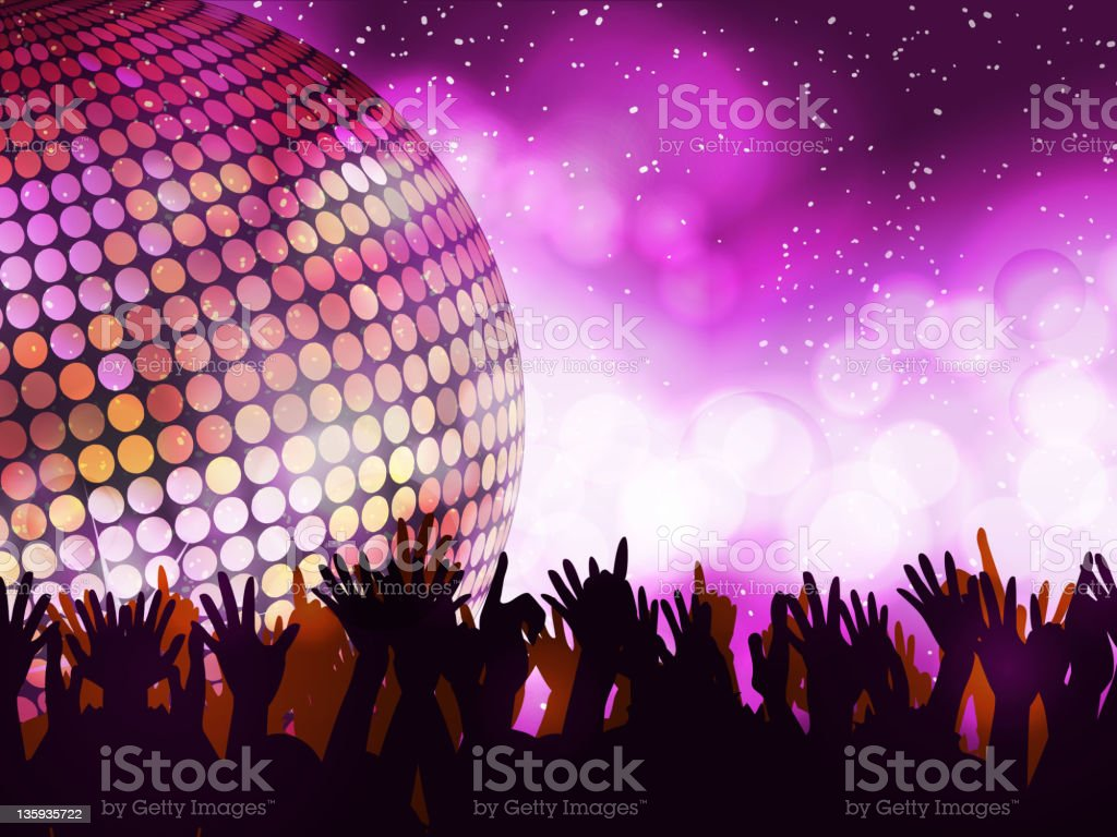 Glowing disco party and crowd royalty-free glowing disco party and crowd stock vector art & more images of bright
