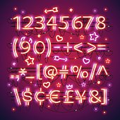 Glowing double neon red numbers and financial symbols makes it quick and easy to customize your Valentines day project. Used neon brushes included. There are fastening elements in a symbol palette.