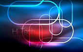 Glowing ellipses dark background, waves and swirl, neon light effect, shiny magic effects. Vector illustration