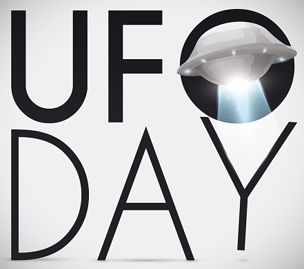 Glowing Flying Saucer Abducting Commemorative Sign for UFO Day