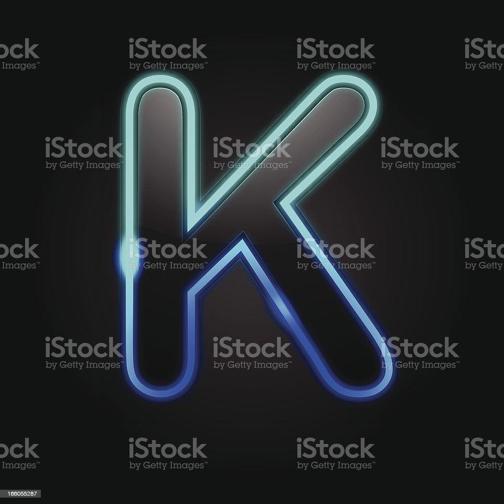 Glowing Font - K royalty-free stock vector art