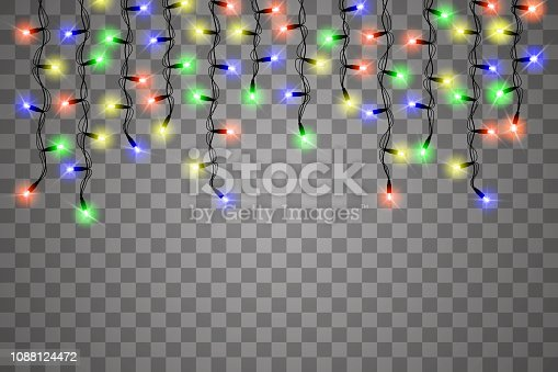 Christmas lights isolated realistic design elements. Glowing lights for Xmas Holiday cards, banners, posters, web design. Garlands decorations. Vector illustration.