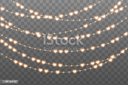istock Glowing garland with hearts and bulbs. Illuminated yellow-orange decorative lights. Valentine's Day event decoration. 1199194267
