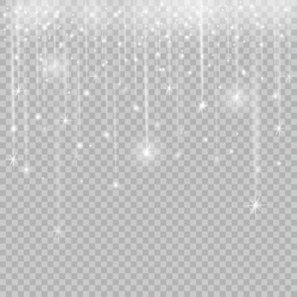 bildbanksillustrationer, clip art samt tecknat material och ikoner med glödande glitter ljuseffekter isolerade realistiska. jul dekoration designelement. solljus bländning. lysande element och stjärnor. gyllene konsistens. transparent vektorbakgrund partiklar - christmas decoration golden star