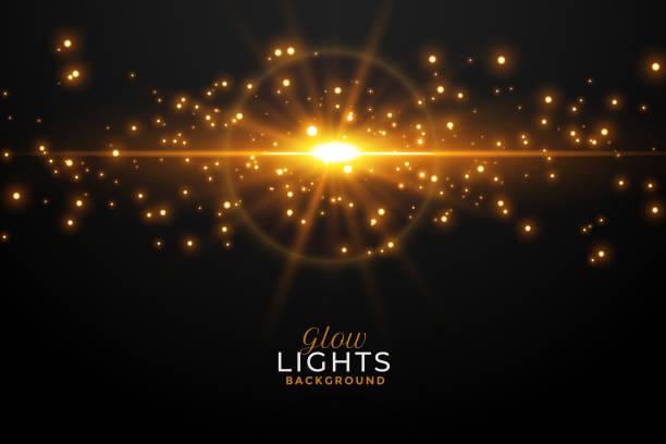 glühendes goldenes Licht Fackel mit funkelnden Hintergrund – Vektorgrafik