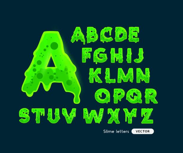 Glühende grüne Schleimbuchstaben – Vektorgrafik