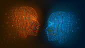 The battle of opposites, good and evil, fire and ice, man and woman. Two glowing heads: orange and blue