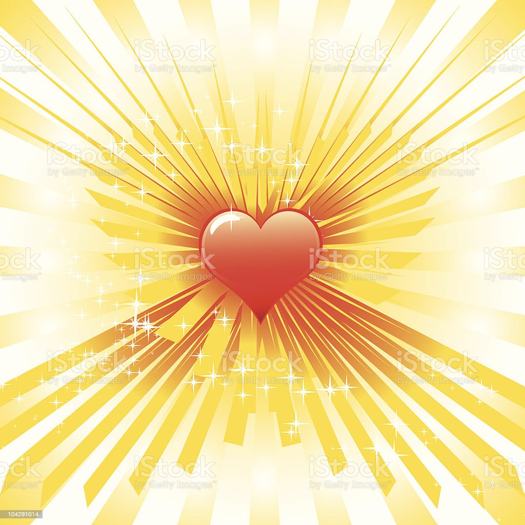 Glowing heart vector art illustration