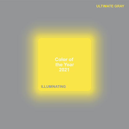 glowing illuminating yellow square button on ultimate gray background