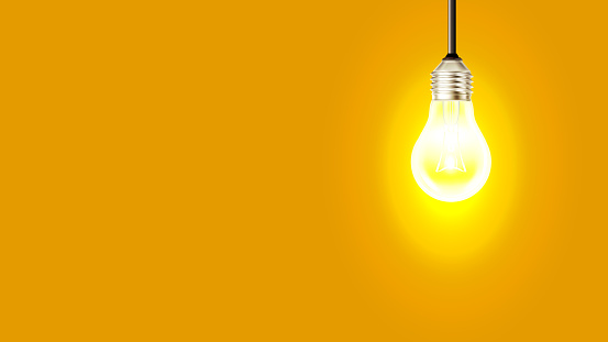 Glowing Incandescent Light Bulb Copy Space Vector