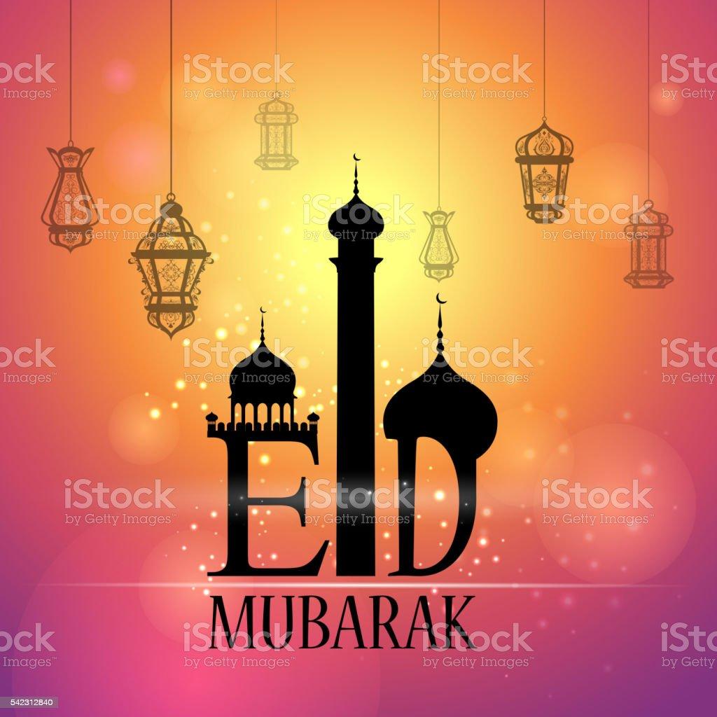 Glowing lamp on Eid Mubarak background vector art illustration