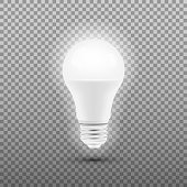 Glowing LED bulb isolated on transparent background. Vector illustration.