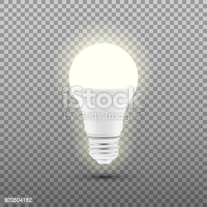 istock Glowing LED bulb isolated on transparent background. Vector illustration. 920504182