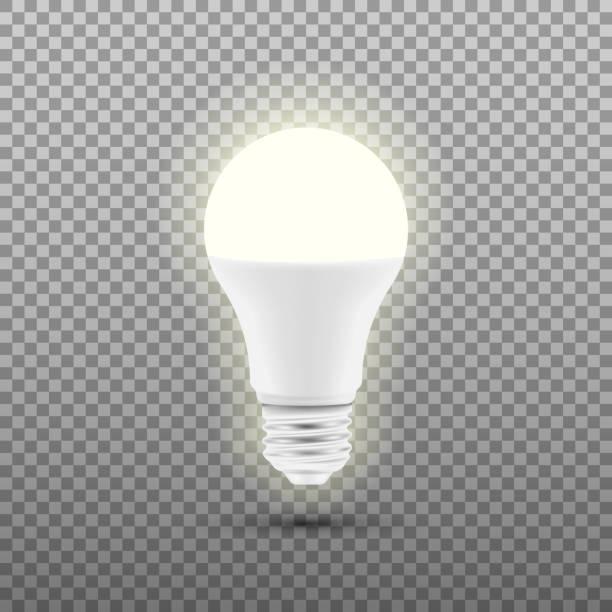 ilustrações, clipart, desenhos animados e ícones de lâmpada de led brilhante isolada em fundo transparente. ilustração em vetor. - led