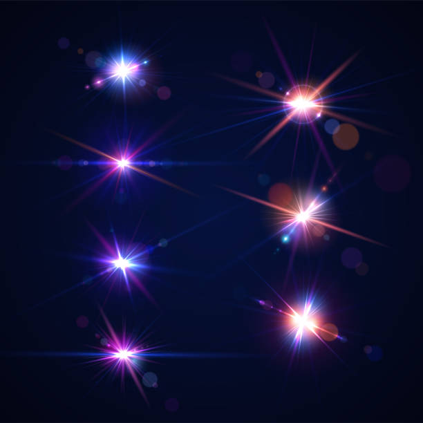 ilustrações de stock, clip art, desenhos animados e ícones de glowing lens flares. set of beautiful glare effects with bokeh, glitter particles and rays. sparkling light effects of flash with colorful twinkle. shining abstract background - acender