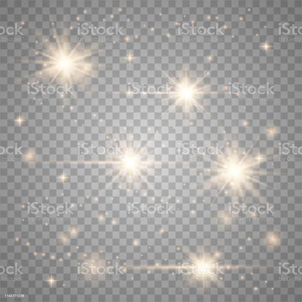 Glowing lens flares. Shine sparks. Vector light effect