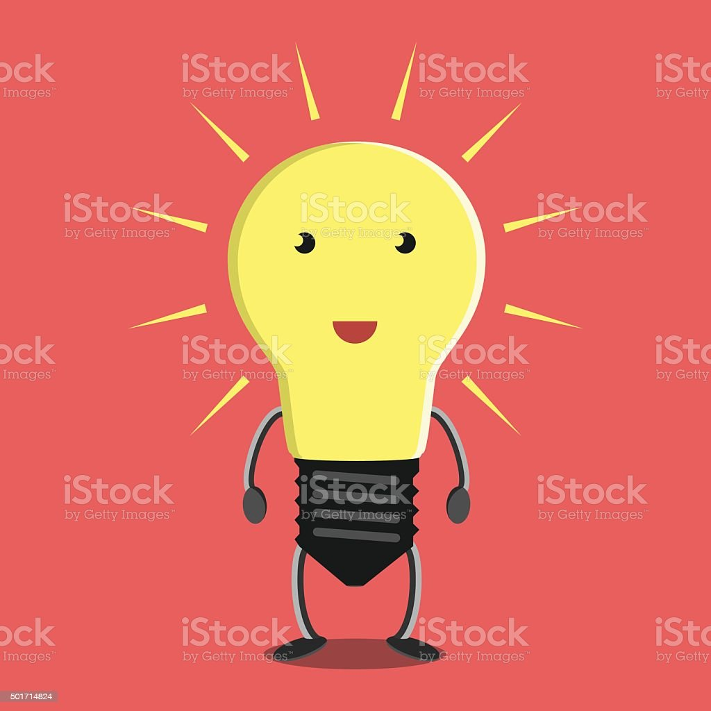 Glowing light bulb character Glowing light bulb character on red background. Idea, insight, solution, inspiration, eureka, success and aha moment concept. EPS 8 vector illustration, no transparency Adult stock vector