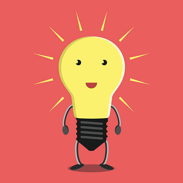 Glowing light bulb character Glowing light bulb character on red background. Idea, insight, solution, inspiration, eureka, success and aha moment concept. EPS 8 vector illustration, no transparency aha stock illustrations