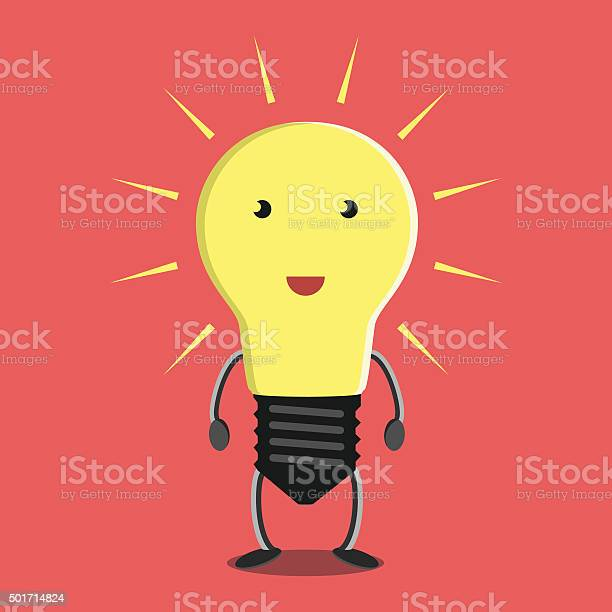 Glowing Light Bulb Character Stock Illustration - Download Image Now