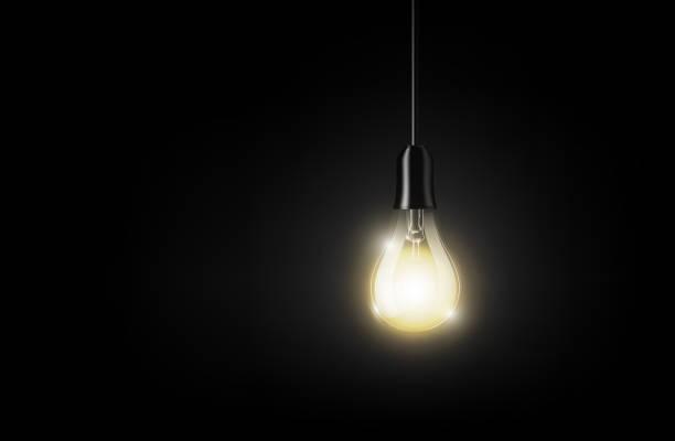 Glowing light bulb hanging on dark background, transparent vector illustration vector art illustration