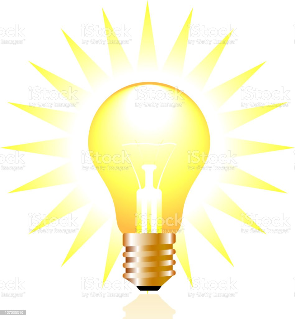 Glowing Light Bulb Idea Illustration Stock Vector Art  for Bright Light Bulb Clipart  535wja
