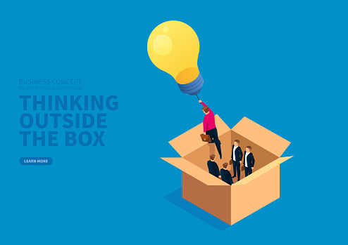 Glowing light bulb leads the businessman to fly outside the box