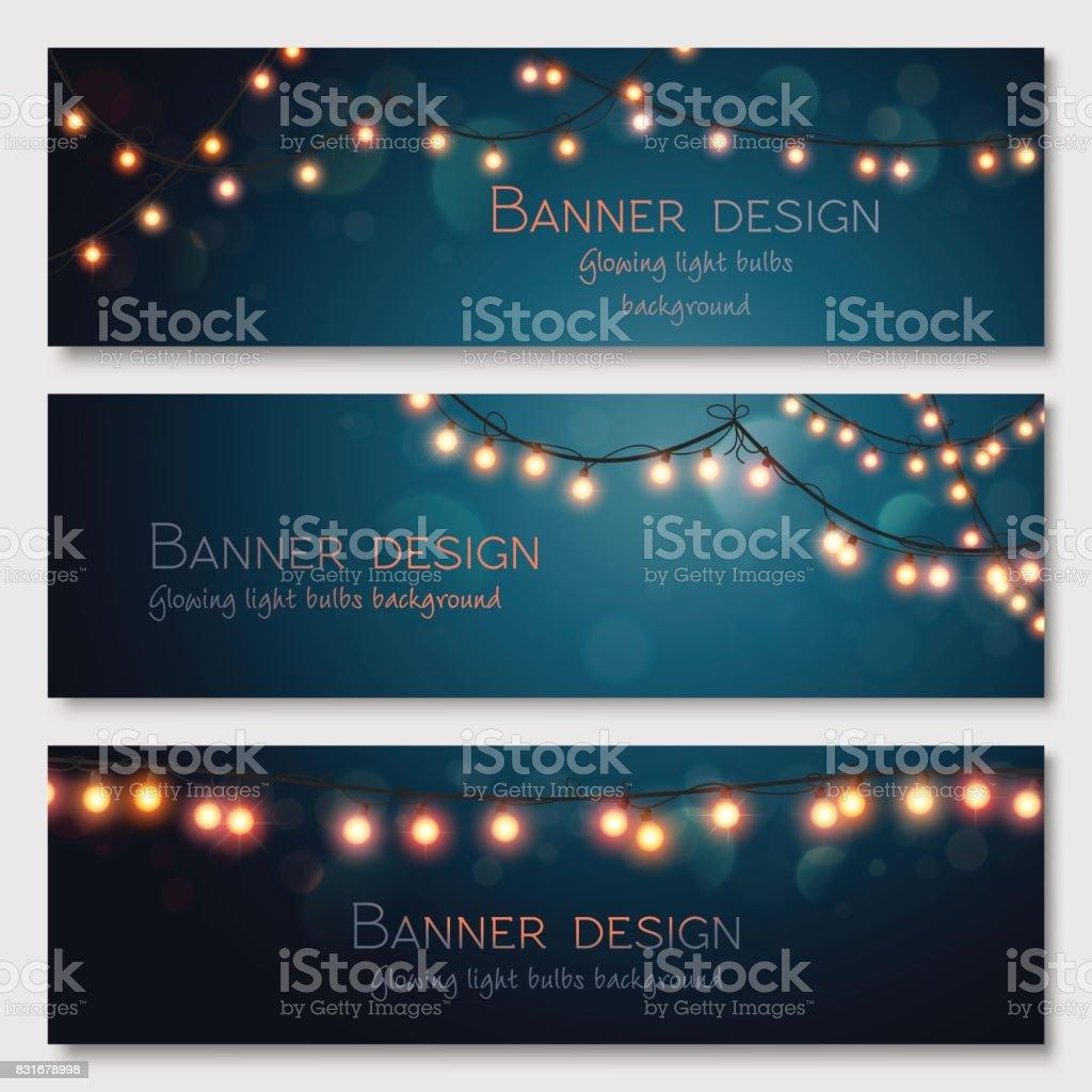 Glowing light bulbs design. Vector banners set. Website header template. vector art illustration