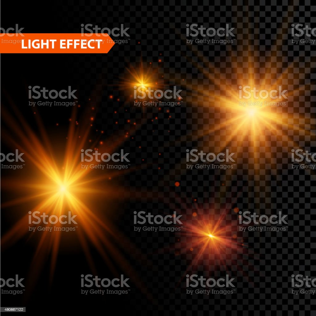 Glowing light effect stars bursts with sparkles on transparent background vector art illustration