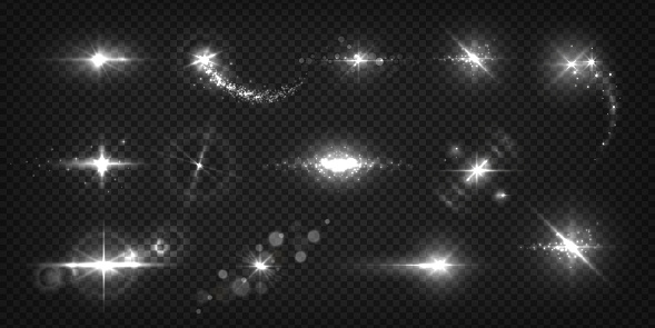 Glowing light effects. Realistic flashes and sparks, star shine and sunburst isolated transparent set. Vector shiny light flash