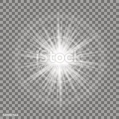 Glowing Light Sparkle On Transparent Background Lens Flare