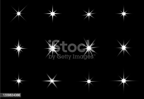 Glowing lights effect, flare, explosion and stars. Special effect isolated on black background