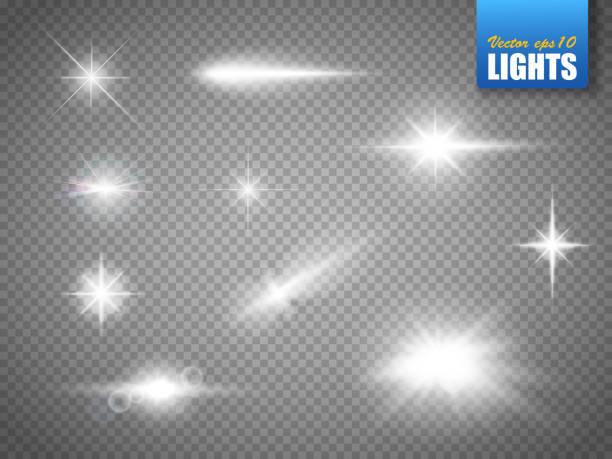 светящиеся огни эффект, вспышка, взрыв и звезды. особый эффект изолирован - блестящий stock illustrations